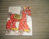 Vintage Greeting Card Father's Day Horse Toy Red Cute RESERVE