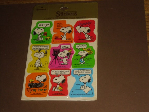 Vintage Pack of 4 sheets of Snoopy Peanuts Stickers