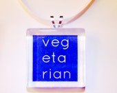 Vegetarian Glass Pendant Necklace