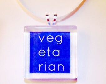 Vegetarian Glass Pendant Necklace