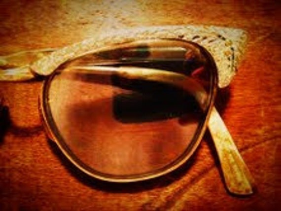 Vintage Eyewear: 1950's Cat's Eye Glasses and 100% Cotton Scarf