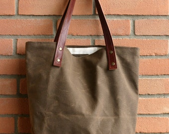 Waxed canvas bag - Tote bag - Handmade waxed canvas tote - Waxed canvas tote bag - Every day bag - market bag - sea bag - wax canvas