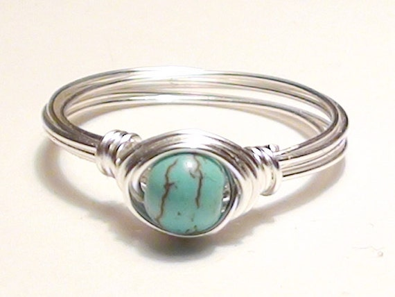 Turquoise and Silver Wire Wrapped Ring Any Size