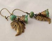 Lily Blossom Earrings with Brass Leaves in Antiqued Turquoise