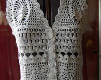 Crochet Top in White Cotton with beaded fringe in size Medium/Large