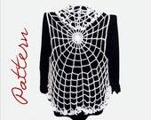PDF Crochet Pattern: Spiderweb Circle Vest Gothic Halloween All Sizes Adult