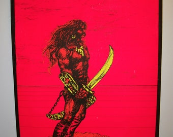 Original Vintage Black Light Warrior II Poster