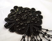 Beaded Applique Black flower sew on sequins with fringe