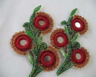 2 FLOWERS Sew On RED with BEADS