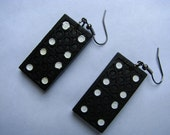 Small Black Domino Earrings