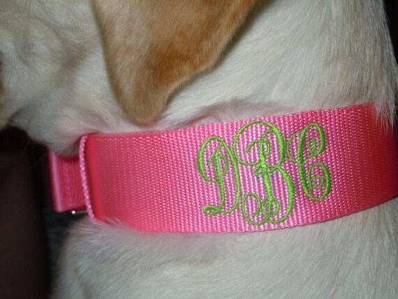 items similar to monogrammed dog collars on etsy