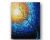 Impressionist Art Blue Painting Tree Painting Sun Painting Landscape Painting Original Abstract Painting on Canvas 30x24 by Heather Day