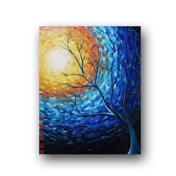 Impressionist Art Blue Painting Tree Painting Sun Painting