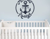 Wall Decal - Nautical Anchor Silhouette - Boys room wall art wall decals