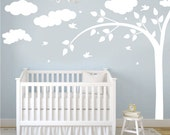 Wall Decal - white tree decal with clouds, butterflies & birds - Wall Art Decor