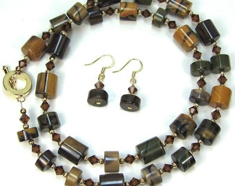 Artistic Jasper Gemstone Necklace Combo Smokey Topaz Swarovski Crystal Necklace and Earrings
