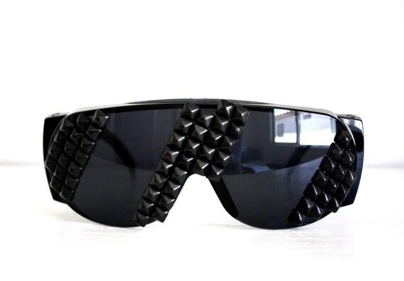 Studded Sunglasses - Black Stripes