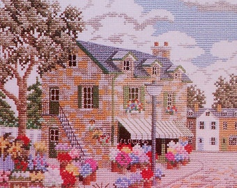 Julia Lucas NEW ENGLAND Flower Shop Picture - Counted Cross Stitch Pattern Chart - fam