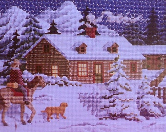 Julia Lucas ALMOST HOME Winter Christmas Picture - Counted Cross Stitch Pattern Chart - fam