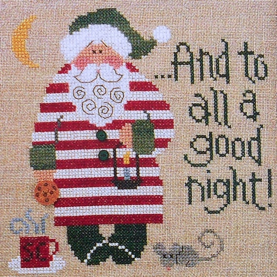 Lizzie Kate Snippet S57 GOOD NIGHT Santa '04 Christmas - Counted Cross Stitch Pattern Chart