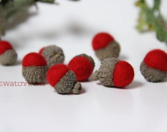 8 Red Needle Felted Wool Acorns Woodland Autumn Fall Holiday Decor