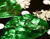 Green w/ Silver Guitar Pick Earrings
