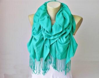 Ruffle scarf  ,Pashmina fabric scarf,in turquoise