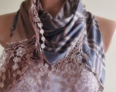 grey stylish scarf with lace shawl gift for her christmas gift bridal brown blue