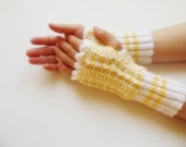 ready to ship Hand knitted Fingerless Gloves mittens yellow white christmas gift for her