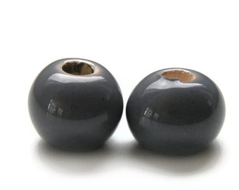 Grey Glazed Ceramic Beads 17mm- 0.66 inch 2 pcs C 10 127