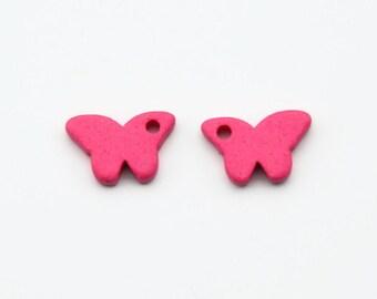 2pcs  Fuschia Butterfly Beads, Fuschia Butterfly Ceramic Pendants, Fuschia Butterfly Charms, Fuschia Butterfly, Greek Ceramic Beads C 10 010