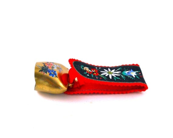 Souvenir Switzerland Reindeer Bell in Black Red and hand painted