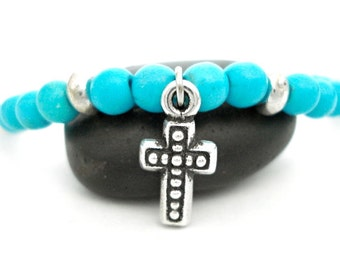 Silver Cross Bracelet, Blue Turquoise, Sterling Silver, Cross Charm Beaded Bracelet