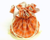 Drawstring Jewelry Bag Pouch - Jewelry organizer -  Orange and cream travel bag
