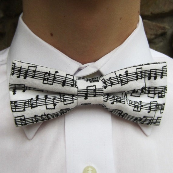 Bow Tie Music Notes in Black and White