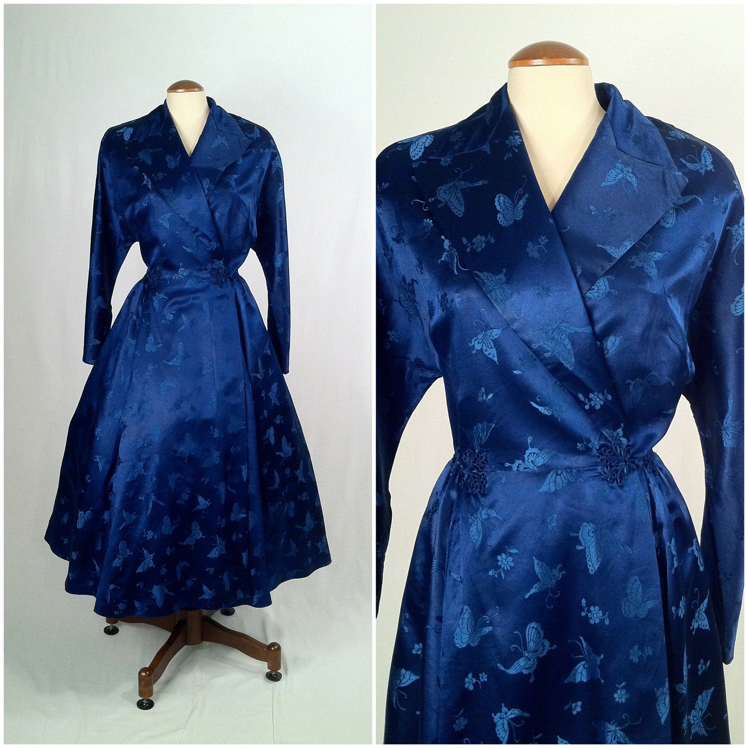 Vintage Royal Blue Satin Brocade Wrap Coat Dress Papillon