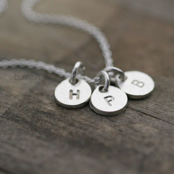 Silver Monogram Necklace / Hand Stamped Initials Tag Coin Discs Charm Necklace / Personalized Mothers Jewelry