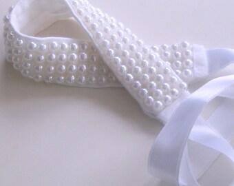Pearl Bridal Headband, Beaded Headpiece, Minimal Wedding, Bridal Fashion White, Romantic Wedding