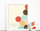 Jane Austen Digital Art Print Poster - Know Your Own Happiness - Geometric Honeycomb Southwest Inspired Aqua Red Brown