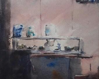 "Figurative, chef, sushi, restaurant art, interior. Let's Have Sushi. Original watercolor painting  (6"" x 6')"