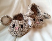 Mouse Baby Booties - Tan, Mouse, Baby, Booties