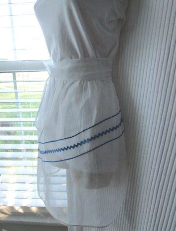 Vintage Half Apron - White Organza Blue Rick Rack
