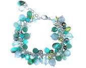 Green and Blue Cluster Bracelet