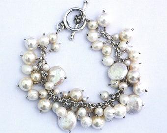 Bride/Bridesmaid -Cream Freshwater Pearl Cluster Bracelet