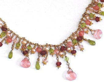 Elegant Gemstone Medley Bib Necklace