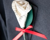 Book Page Paper Rose Wedding Boutonniere