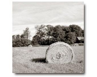 Black and White landscape photography, Farm Landscape Photo, hay roll, black and white, rural, country, farmhouse, gray, home decor, sepia