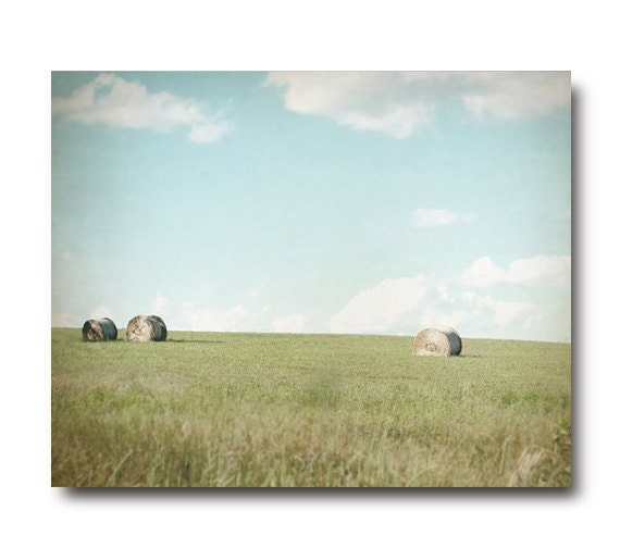 Farm Country Landscape Photography, country living, pastel, hay rolls, green, field, rustic, blue sky, clouds, farmhouse chic, sage, mint