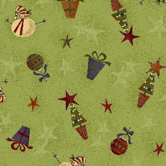 ON SALE - Christmas Quilt Fabric  - Green with Snowmen, Trees, and Presents from the Buggy Barn Merry and Bright Line - 1 Yard Cut
