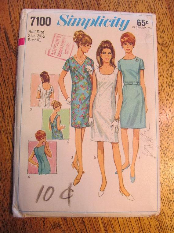 UNCUT Sewing Pattern - VINTAGE 1960's MOD Sheath Dress - Plus Size 20.5 - Simplicity 7100